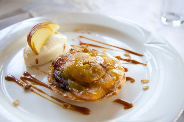 Clitheroe Apples & Almond Custard Tart with Salted Caramel