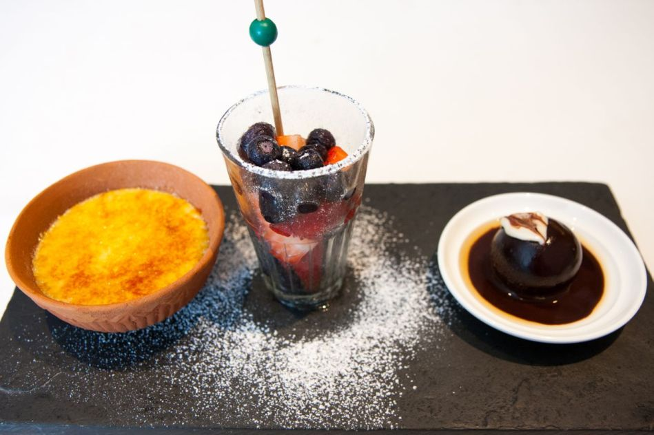 Coconut Brûlée, Berry Chaat, Old Monk Rum Ball